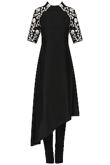 Black asymmetric tunic with churidaar pants by Kavya Chandra