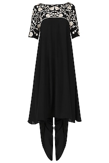 Black panelled tunic with dhoti pants by Kavya Chandra