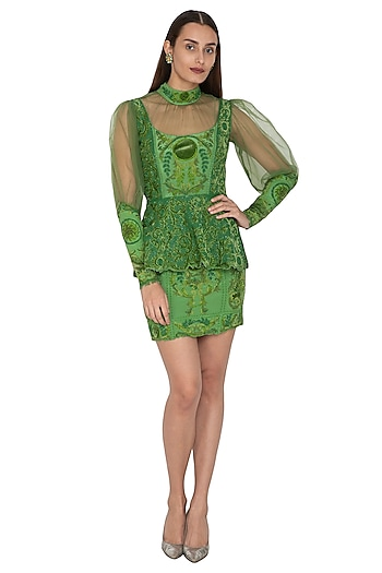 Green Embroidered Peplum Top With Skirt by Kartikeya