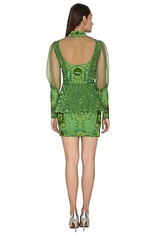 Green Embroidered Peplum Top With Skirt by Kartikeya