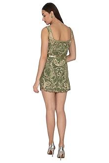Olive Green Embroidered Mini Dress by Kartikeya