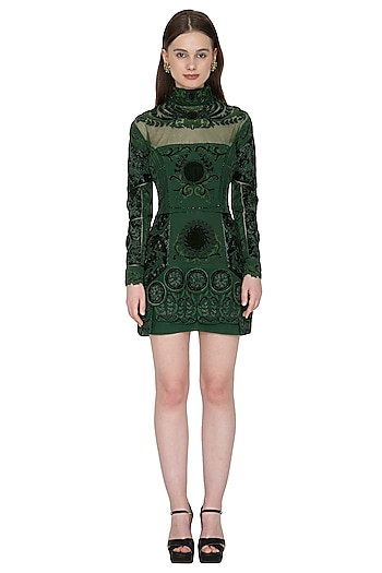 Deep Green Embroidered Mini Dress by Kartikeya