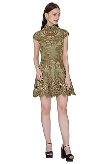 Olive Green Embroidered Dress by Kartikeya