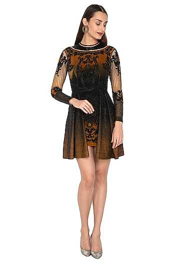 Mustard & Black Embroidered Ombre Dress by Kartikeya