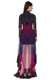 Purple & Navy Blue Embroidered Baroque Dress by Kartikeya