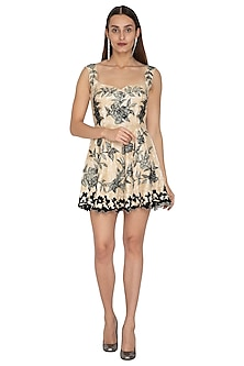 Ivory Embroidered Mini Dress by Kartikeya