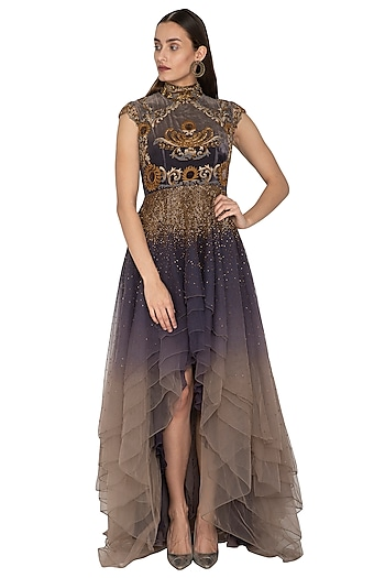 Charcoal Grey Embroidered Shaded Dress by Kartikeya