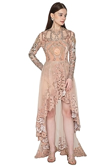 Nude Pink Embroidered Asymmetrical Dress by Kartikeya