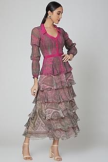 Pink Tiered Printed Maxi Dress by Kartikeya