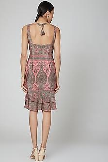 Coral Pink Corset Dress by Kartikeya