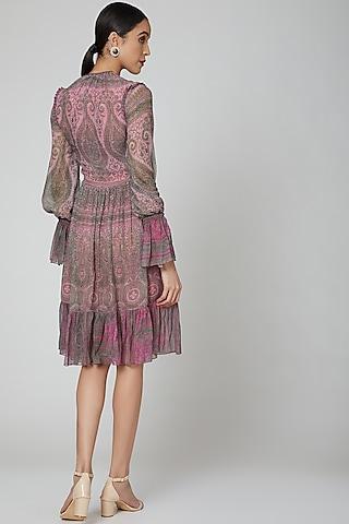 Blush Pink Printed Dress by Kartikeya