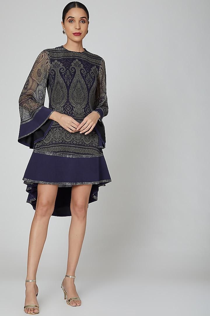 Violet Blue Printed & Embroidered Dress by Kartikeya