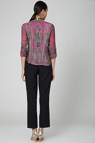 Fuchsia Pink Printed Blouse by Kartikeya