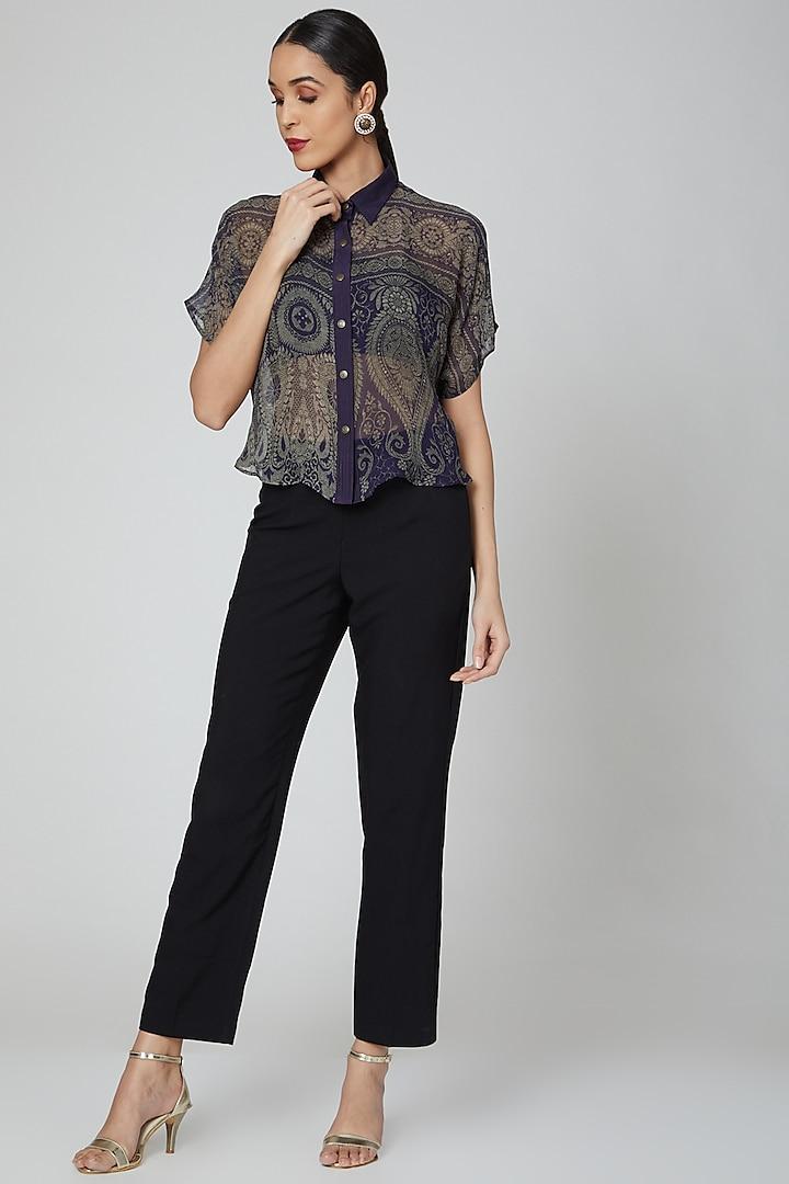 Violet Digital Printed Georgette Shirt by Kartikeya