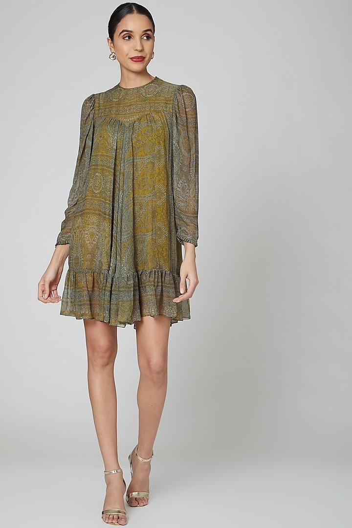 Yellow Digital Printed Dress by Kartikeya