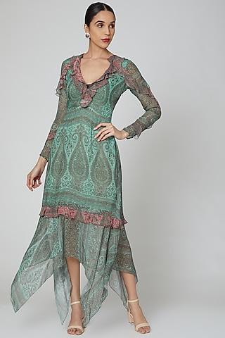 Turquoise & Pink Printed Dress by Kartikeya