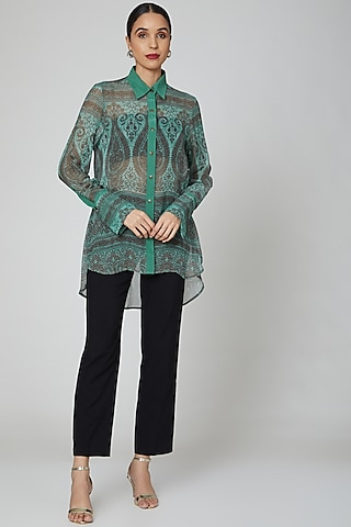 Turquoise Digital Printed Shirt by Kartikeya