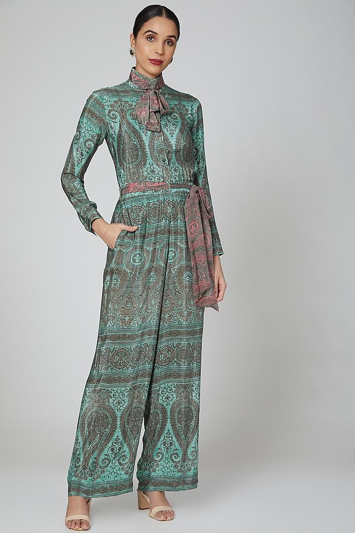 Turquoise & Pink Printed Jumpsuit by Kartikeya