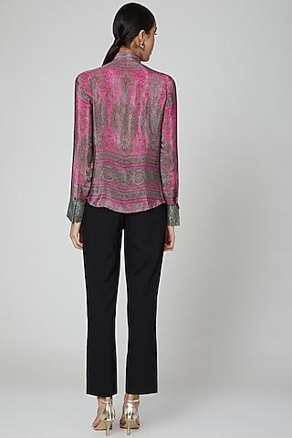 Fuchsia Pink Printed Shirt by Kartikeya