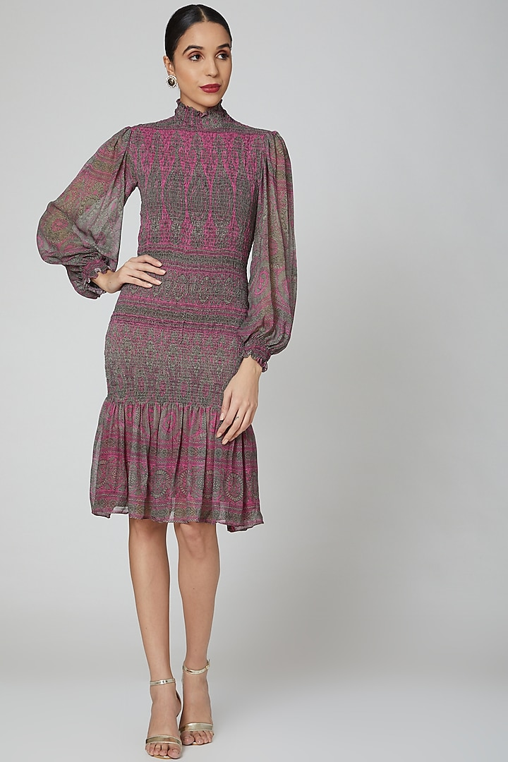 Fuchsia Pink Printed Smocking Dress by Kartikeya