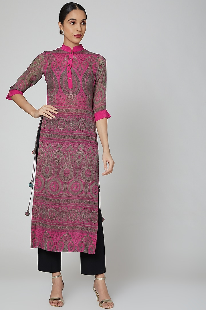 Fuchsia Pink Printed Kurta by Kartikeya