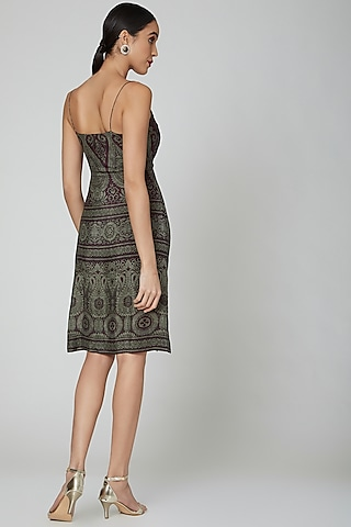 Maroon Digital Printed Dress by Kartikeya