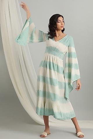 Ice Blue Tie-Dye Kaftan Dress by Kyra By Bhavna