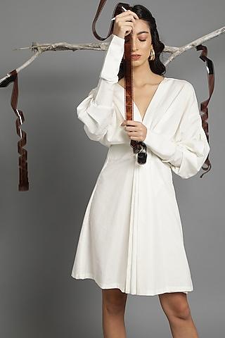 White A-Line Draped Dress by Kyra By Bhavna