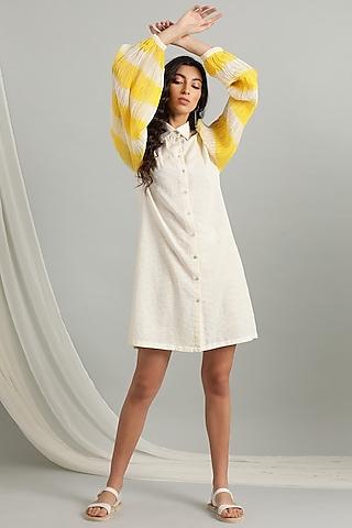 White & Yellow Dobby Shirt Dress by Kyra By Bhavna