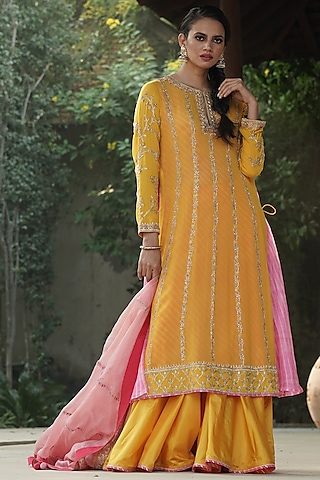 Yellow Embroidered Anarkali Set With Lehenga by Kyra By Bhavna