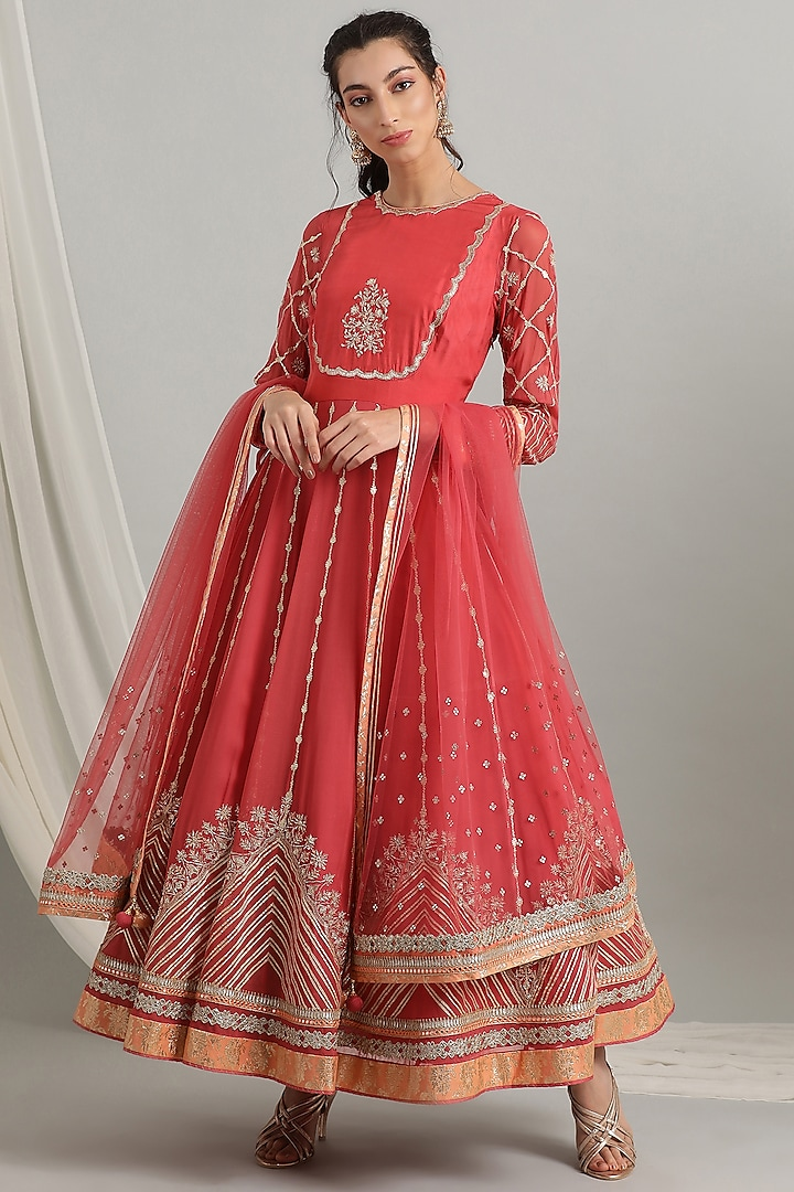 Coral Embroidered Anarkali Set by Kyra By Bhavna