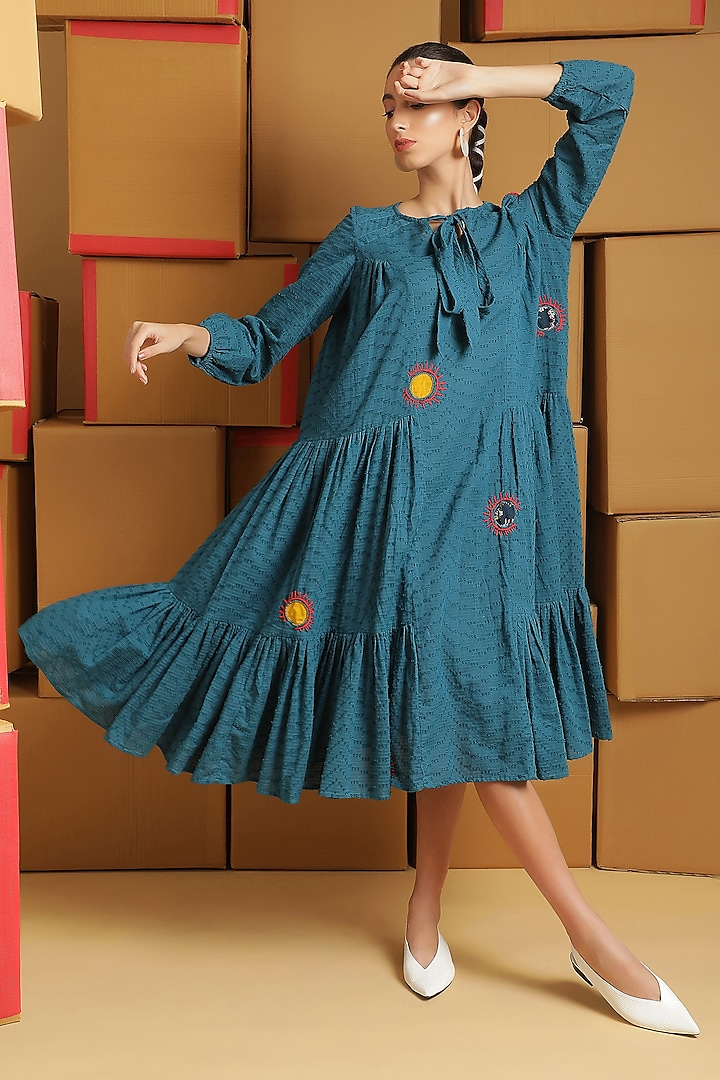 Teal Embroidered Dress by Kyra By Bhavna