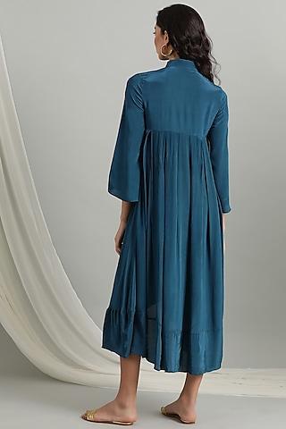 Teal Asymmetrical Button Down Dress by Kyra By Bhavna