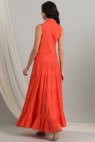 Orange Cambric Wrap Dress by Kyra By Bhavna