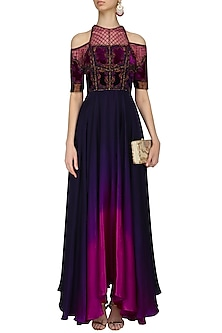 Navy Blue and Purple Embroidered Ombre High Low Gown by Kartikeya