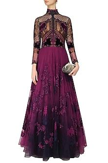 Navy Blue and Purple Applique Work Conciergerie Gown by Kartikeya