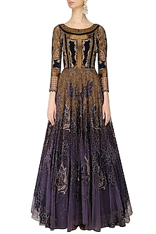 Charcoal Grey and Gold Appique Work Maison Tool Gown by Kartikeya