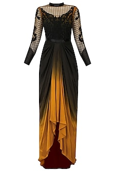 Black and Ochre Tool Palais Garnier Motif Gown by Kartikeya