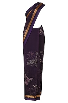 Purple Threadwork and Pipe Border Selvage Saree by Kartikeya