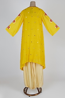 Yellow Embroidered Kurta With Pants by Kunza