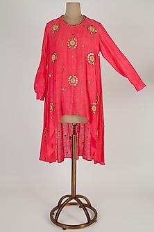 Pink Embroidered Asymmetric Kurta by Kunza