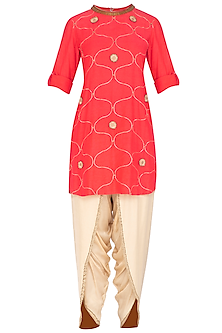 Coral Pink Embroidered Kurta With Dhoti Pants by Kunza