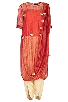 Coral Pink Embroidered Saree Kurta With Dhoti Pants by Kunza