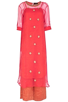 Coral Pink Embroidered Kurta With Palazzo Pants by Kunza