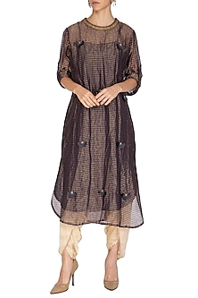 Charcoal Embroidered Kurta With Dhoti Pants by Kunza