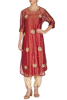 Pink Embroidered Long Kurta With Golden Dhoti Pants by Kunza