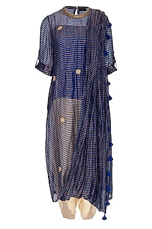 Blue Embroidered Saree Kurta With Gold Dhoti Pants by Kunza