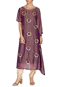Purple Embroidered Kaftan With Golden Dhoti Pants by Kunza