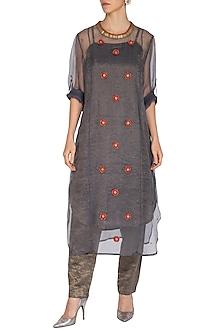 Charcoal Embroidered Kurta With Cigarette Pants by Kunza