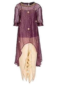 Purple Embroidered Asymmetric Tunic With Gold Dhoti Pants by Kunza